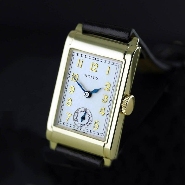 Rolex Yellow Gold Art Deco Railway Mechanical Wristwatch, 1934 For Sale 1