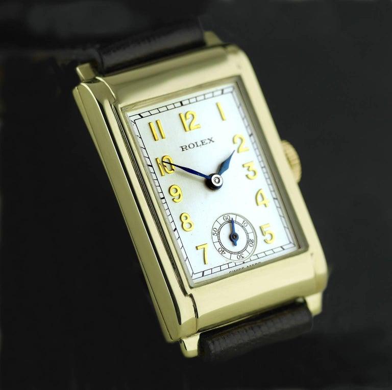 Rolex Yellow Gold Art Deco Railway Mechanical Wristwatch, 1934 For Sale 2