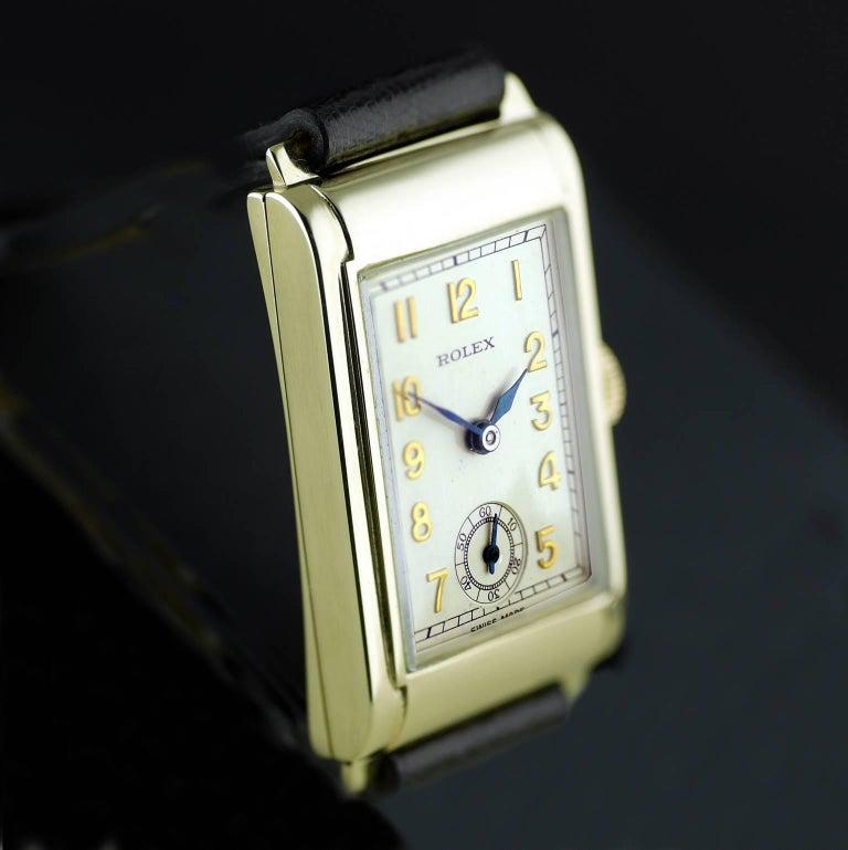 Rolex Yellow Gold Art Deco Railway Mechanical Wristwatch, 1934 For Sale 4