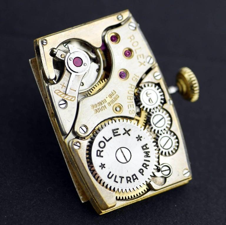 Rolex Yellow Gold Art Deco Railway Mechanical Wristwatch, 1934 For Sale 8
