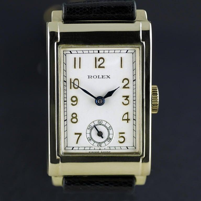 Rolex Yellow Gold Art Deco Railway Mechanical Wristwatch, 1934 For Sale 9