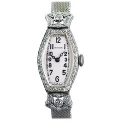 Rolex Ladies White Gold Diamond Chronometer Art Deco Wristwatch, 1926