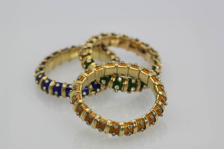 Women's Tiffany & Co. Jean Schulmberger Iconic Copper Enamel Turquoise Bracelet For Sale