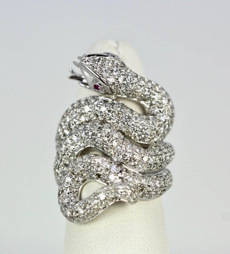 Artisan Diamond 18 Karat Snake Ring 4.66 Carat Two Ruby Eyes For Sale