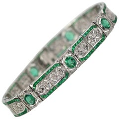 Modern Art Deco Style Diamond Emerald Bracelet