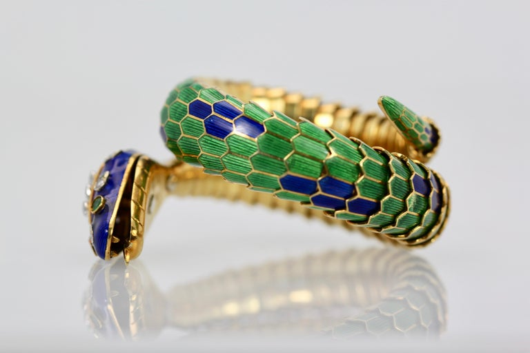 Artisan Enamel Articulated Snake Serpent Bracelet Diamond Head 18 Karat For Sale