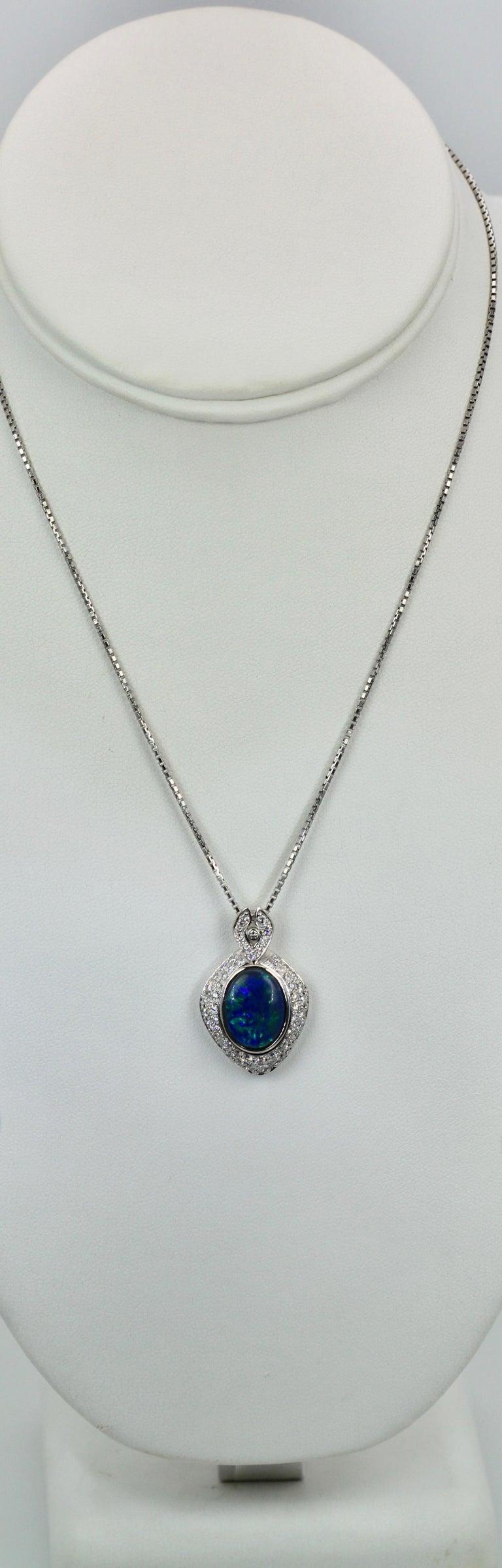 Modern Black Opal Platinum Diamond Pendant For Sale