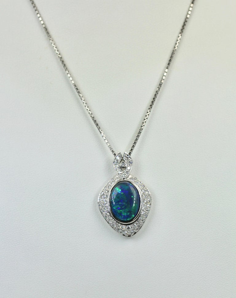 Black Opal Platinum Diamond Pendant In Good Condition For Sale In North Hollywood, CA