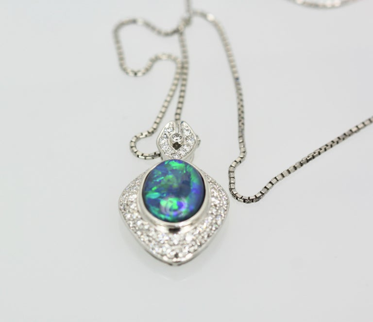 Women's Black Opal Platinum Diamond Pendant For Sale