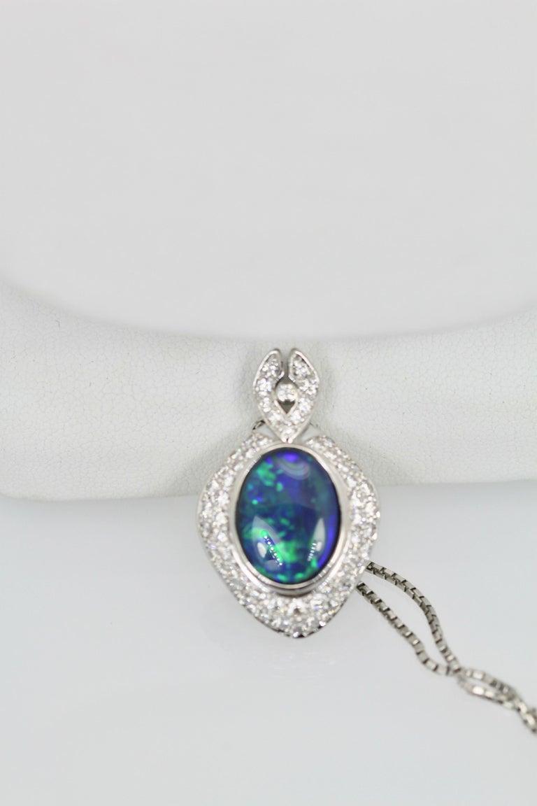 Oval Cut Black Opal Platinum Diamond Pendant For Sale