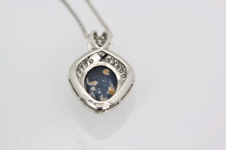 Black Opal Platinum Diamond Pendant For Sale 1