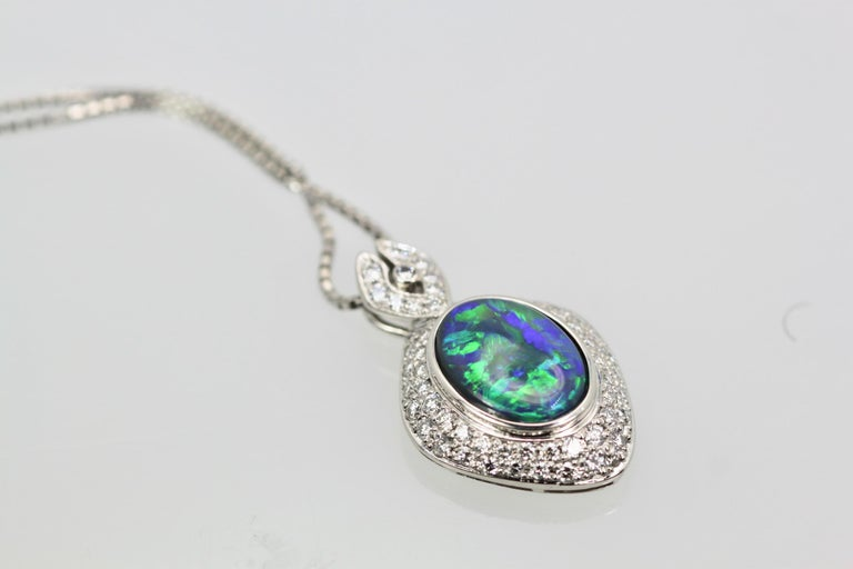 Black Opal Platinum Diamond Pendant For Sale 3