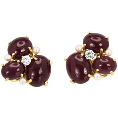 Seaman Schepps Ruby Cabochon Earrings with Three Pearls and Diamonds Pierced 18K