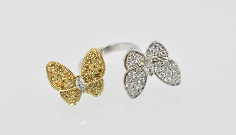 Modern Van Cleef White Diamond Yellow Sapphire Double Butterfly Ring For Sale
