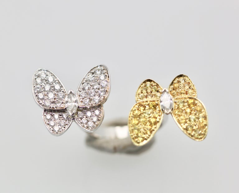 Marquise Cut Van Cleef White Diamond Yellow Sapphire Double Butterfly Ring For Sale