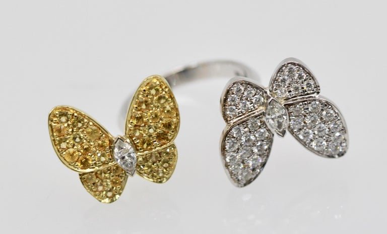 Women's Van Cleef White Diamond Yellow Sapphire Double Butterfly Ring For Sale