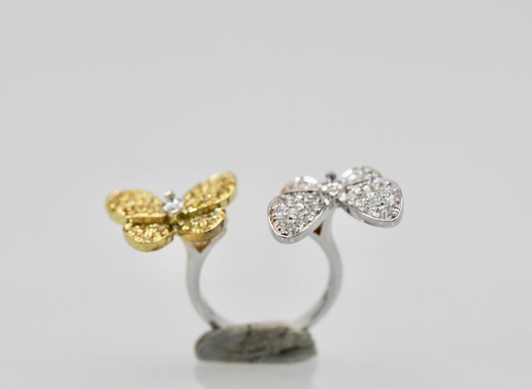 Van Cleef White Diamond Yellow Sapphire Double Butterfly Ring For Sale 1