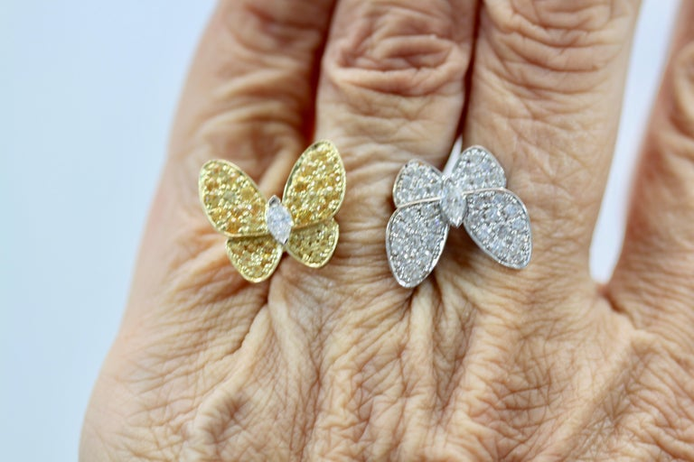 Van Cleef White Diamond Yellow Sapphire Double Butterfly Ring For Sale 3