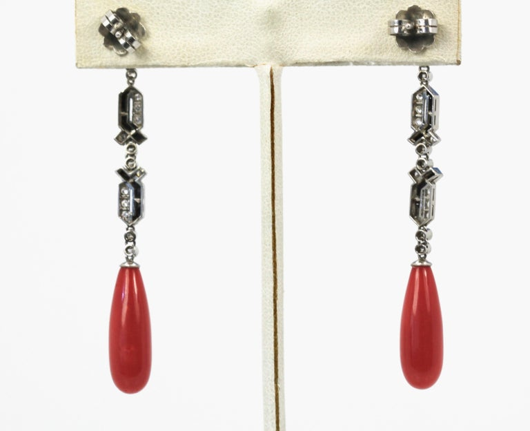 Round Cut Deco Onyx Platinum Diamond and Coral Geometric Long Drop Earrings For Sale