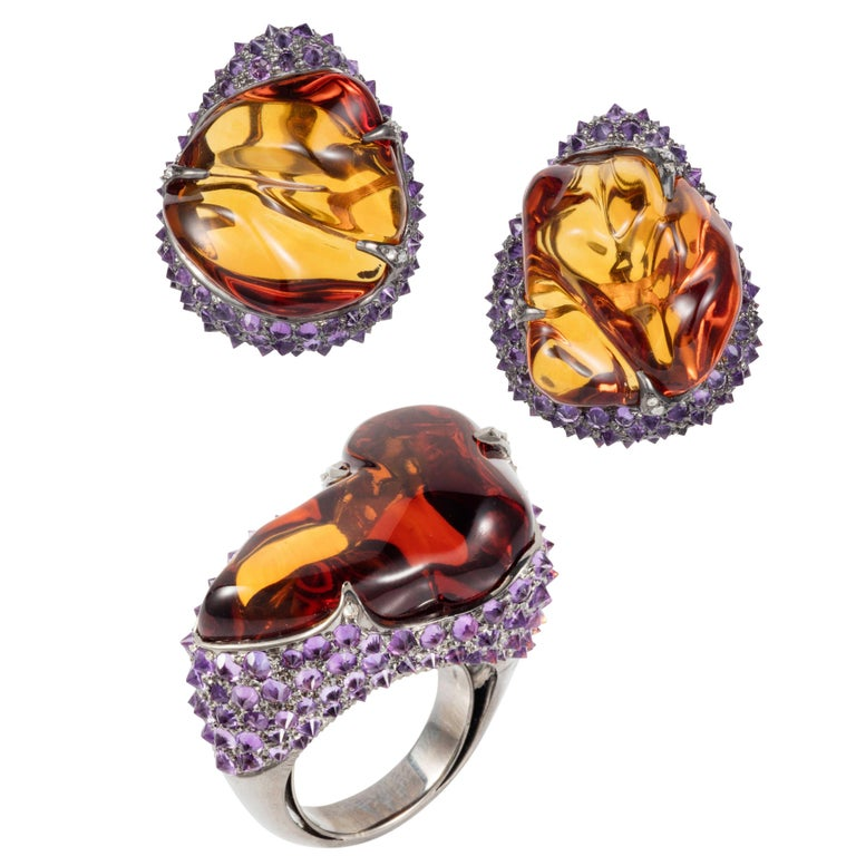 Citrine Tumble, Amethyst and Diamond Glam Rocks Earrings and Ring by Manpriya B
