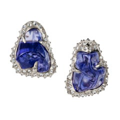 52.580 carats Tanzanite Tumble Diamond 18K White Gold Clip On Earrings
