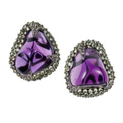 74.140 ct. Amethyst Tumble Peridot Diamond 18 Karat Gold Silver Clip On Earrings