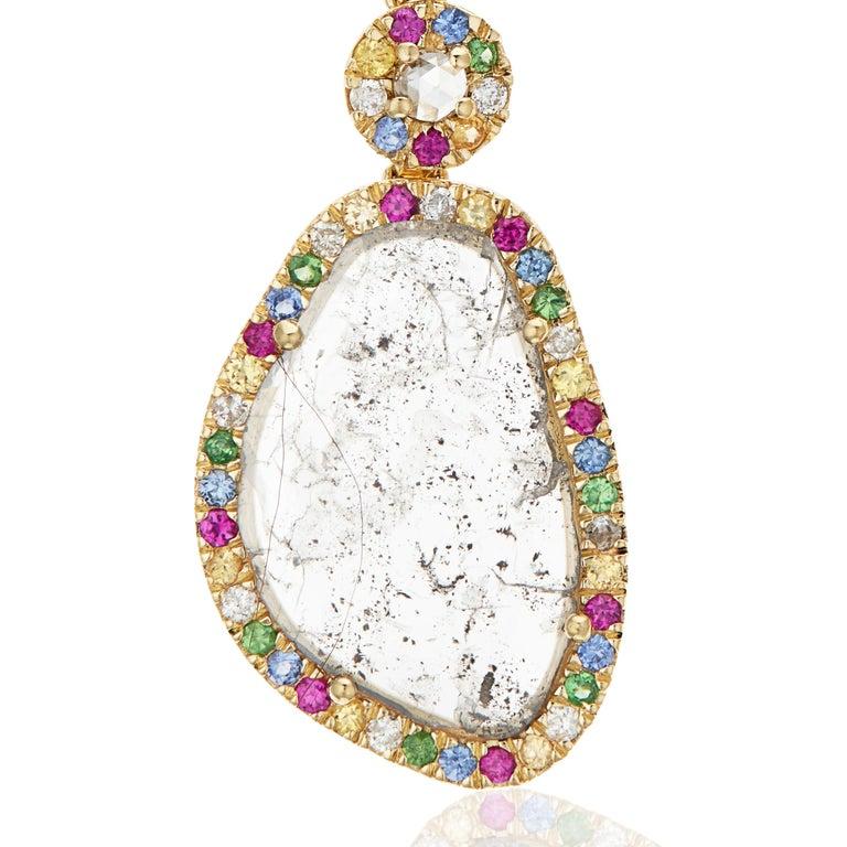 Modern Manpriya B Slice Diamond Ruby, Coloured Sapphire & Tsavorite Diva Drop Earrings  For Sale