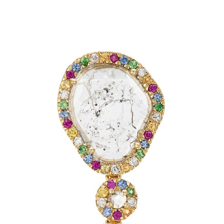 Round Cut Manpriya B Slice Diamond Ruby, Coloured Sapphire & Tsavorite Diva Drop Earrings  For Sale