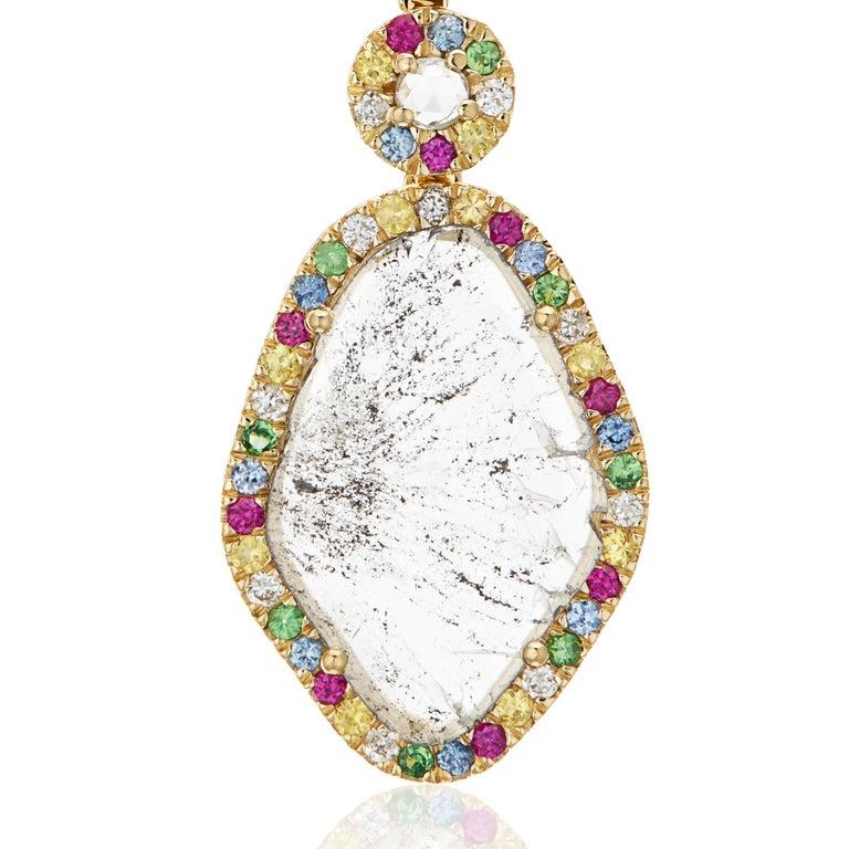 Manpriya B Slice Diamond Ruby, Coloured Sapphire & Tsavorite Diva Drop Earrings  In New Condition For Sale In London, GB