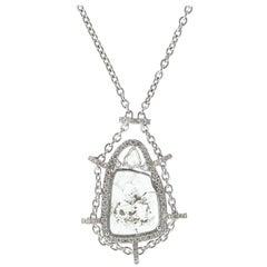 Manpriya B Slice, White Diamond & Sapphire 18K Gold Drop Pendant Chain Necklace