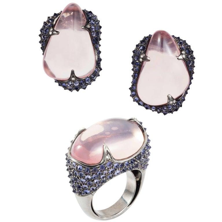 Rose Quartz Tumble, Iolite and Diamond Glam Rocks Earrings and Ring, Manpriya B