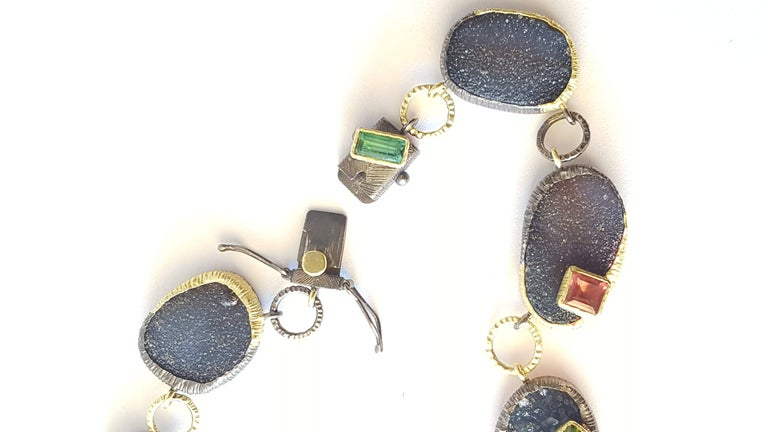 Contemporary Gold Druzy Agate Tourmaline Link Necklace For Sale