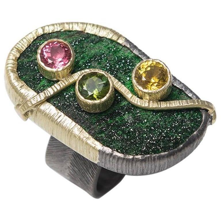 Uvarovite Tourmaline 18 Karat Green Gold Black Silver Cocktail Ring