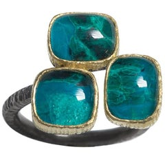 Chrysocolla Doublet Geometrical Gold Rhodium Silver Cocktail Ring