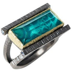 Chrysocolla Doublet Geometrical Unisex Gold Rhodium Plated Silver Cocktail Ring