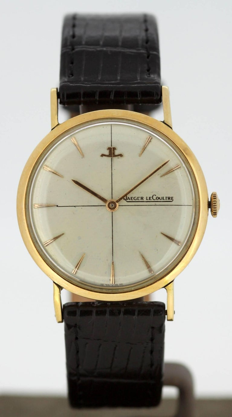 Jaeger-LeCoultre Vintage 18K Yellow Gold Manual Winding Wristwatch, Circa.1960's  Gender: unisex Case size: 40 x 36  mm Movement: manual winding Watchband Material: Leather Case material : 18K Gold Display Type:Analogue Dial: ( See Photos ) Hands: