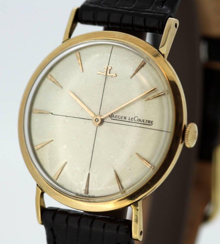 Men's Jaeger-LeCoultre Vintage 18 Karat Gold Manual Winding Wristwatch, circa 1960s For Sale