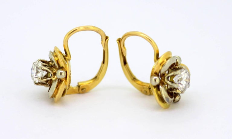 Vintage 18 Karat Yellow Gold Ladies Clip on Earrings with Diamonds In Excellent Condition For Sale In Braintree, GB