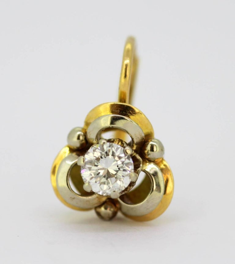 Women's Vintage 18 Karat Yellow Gold Ladies Clip on Earrings with Diamonds For Sale