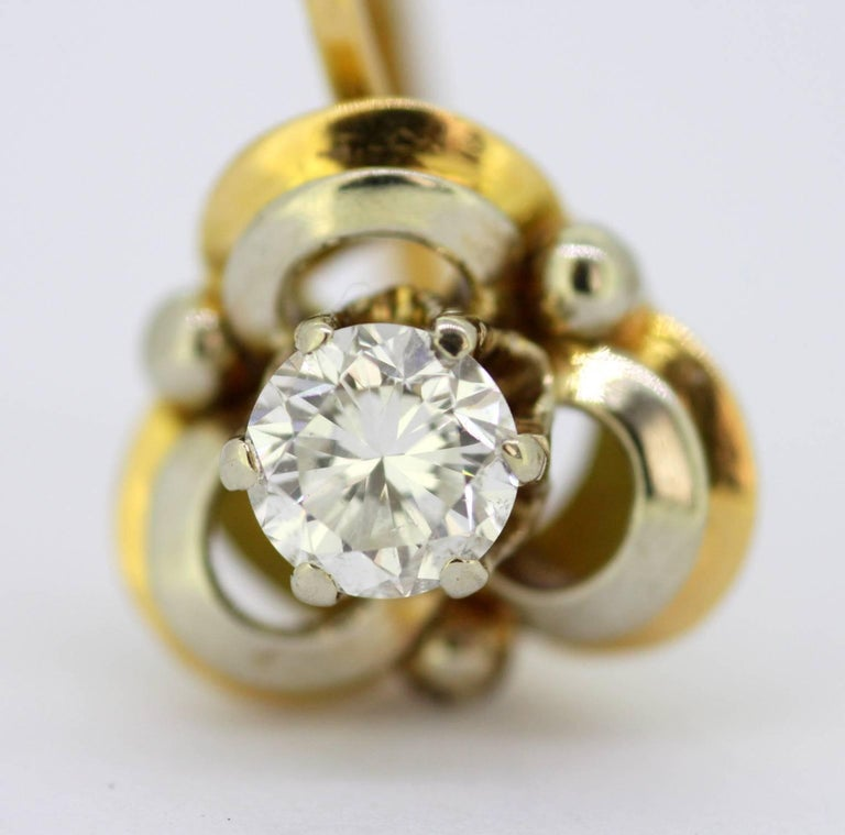 Vintage 18 Karat Yellow Gold Ladies Clip on Earrings with Diamonds For Sale 1