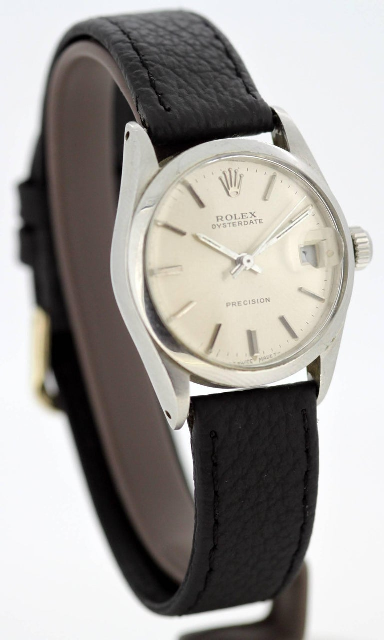 Rolex Oysterdate Precision - Manual Winding Wristwatch, Circa.1960's  Case : Stainless Steel Original Rolex Gender:Unisex Case size: 37 x 33 mm Movement: Swiss Manual wind Watch band material: Genuine Leather Strap Lens: Plexiglass Display