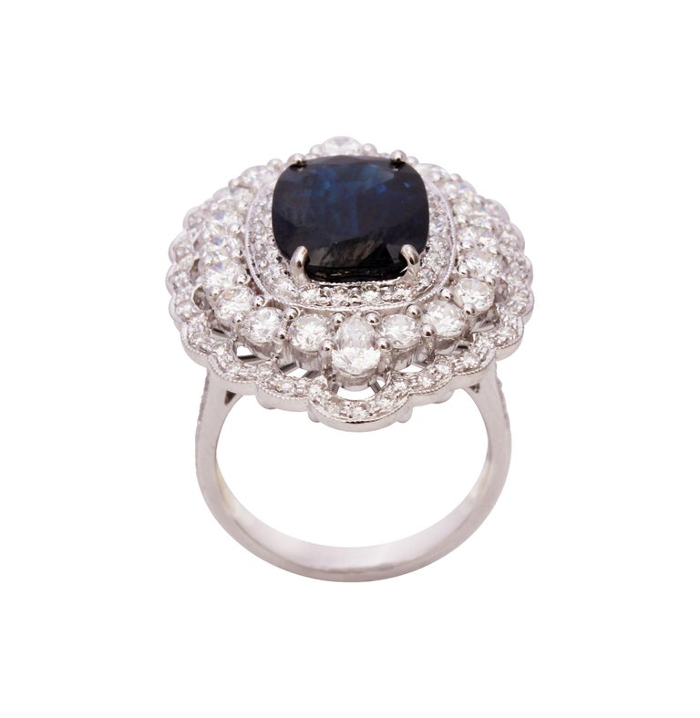 18 Karat Gold Blue Sapphire and Diamond Ring