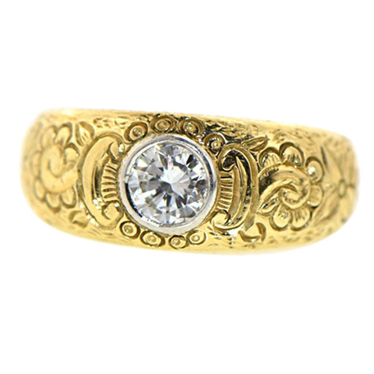 engraved gold ring at 1stdibs