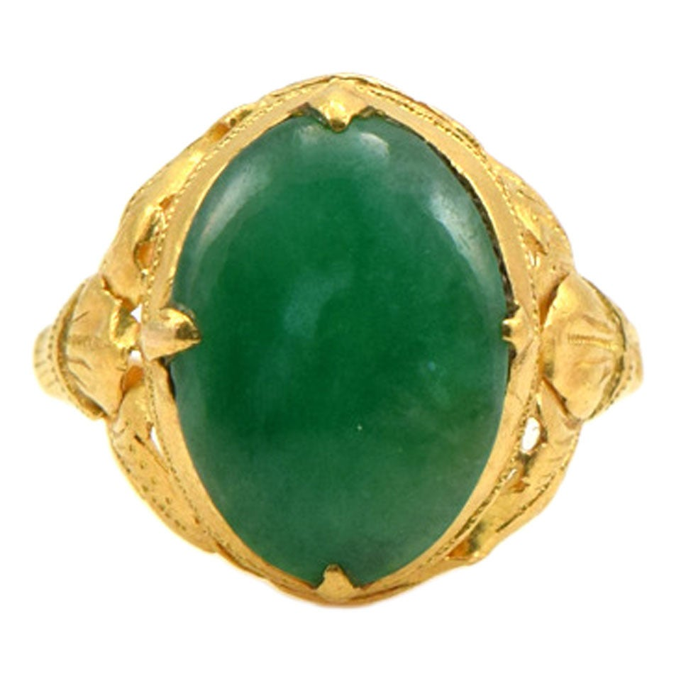 oval cabochon jade gold ring