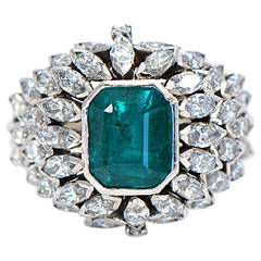 1950s Colombian Emerald Diamond Platinum Cocktail Ring