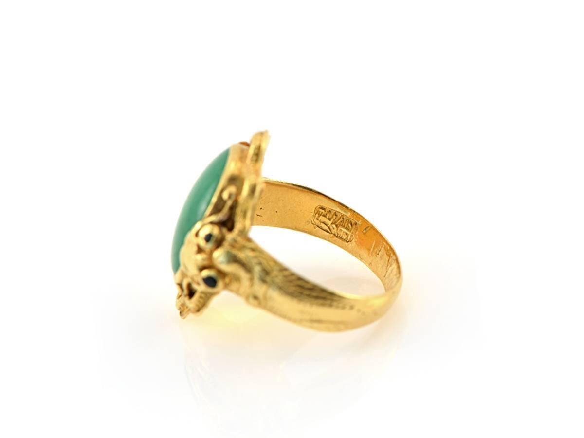 1940s jade and gold ring at 1stdibs