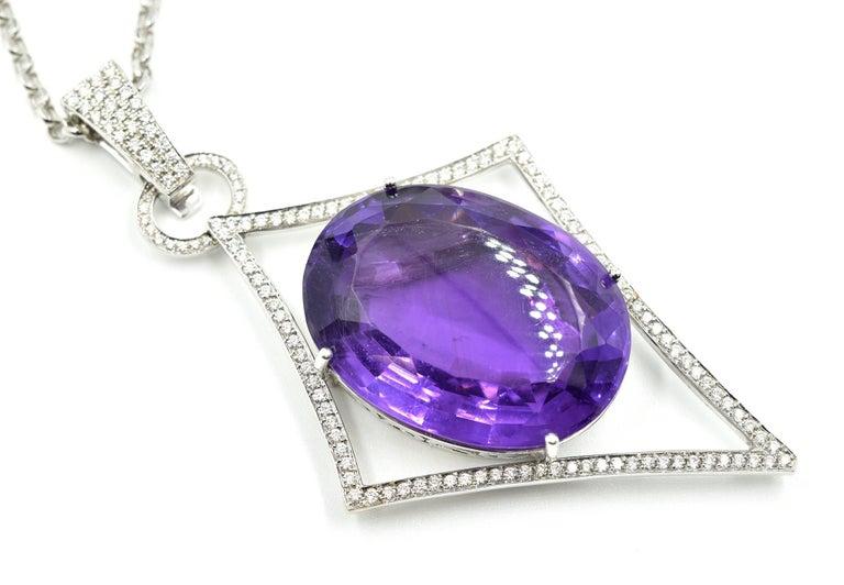 Oval Cut Oval Amethyst, Pave Set Round Diamond, 14 Karat Gold Navette Pendant Necklace For Sale