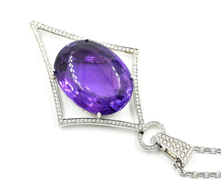 Oval Amethyst, Pave Set Round Diamond, 14 Karat Gold Navette Pendant Necklace In Excellent Condition For Sale In Scottsdale, AZ