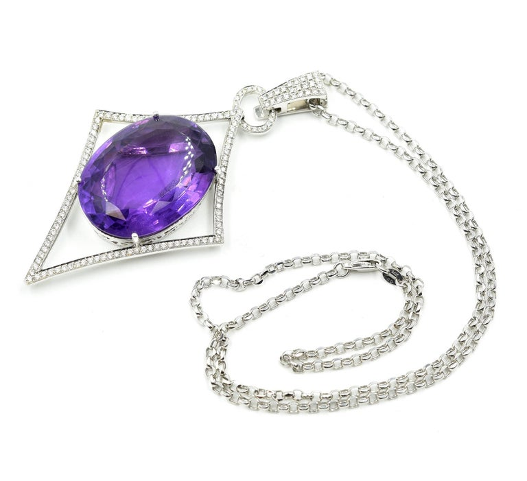 Modern Oval Amethyst, Pave Set Round Diamond, 14 Karat Gold Navette Pendant Necklace For Sale