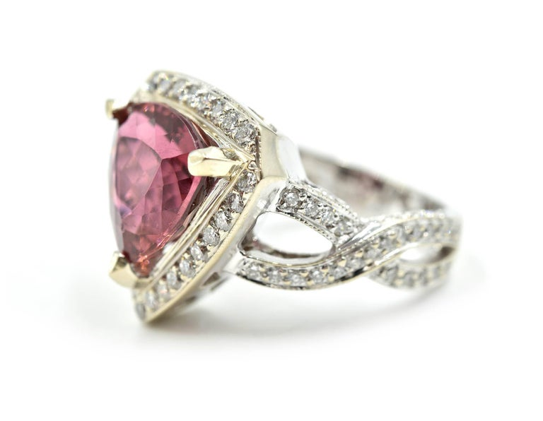 Modern White Gold Round Diamond and 4.50 Carat Trilliant Pink Tourmaline Cocktail Ring For Sale